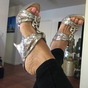 Marciano Silver Snake Patter Wedges.